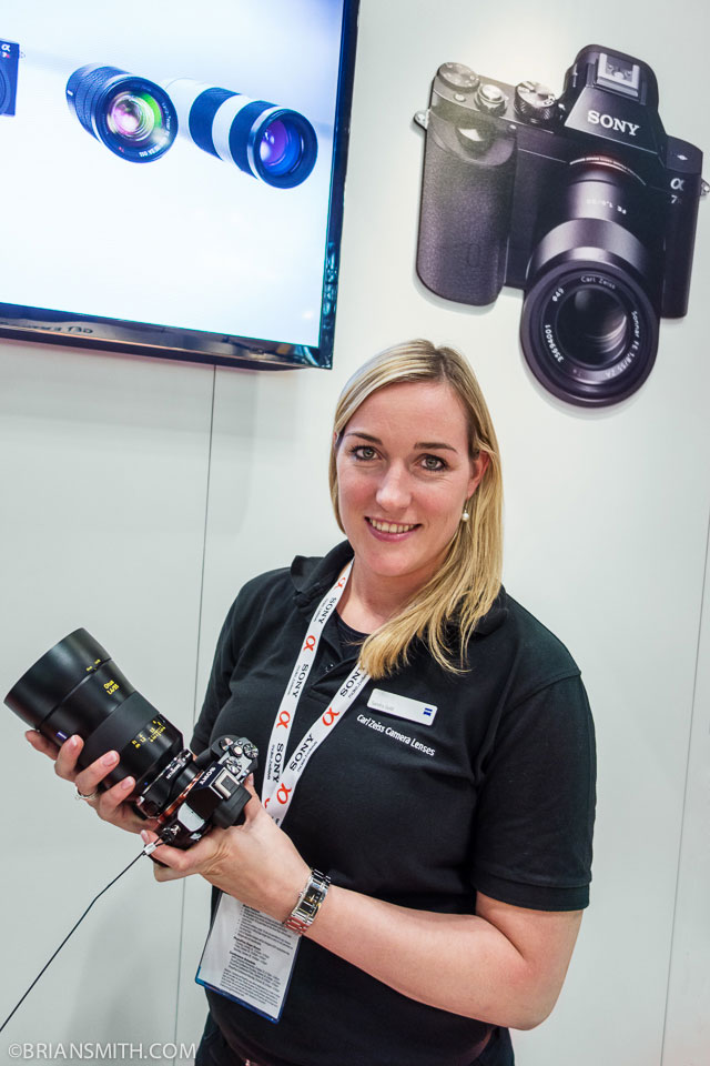 Sandra Gold of Zeiss Optics at the Sony Booth at PhotoPlus Expo