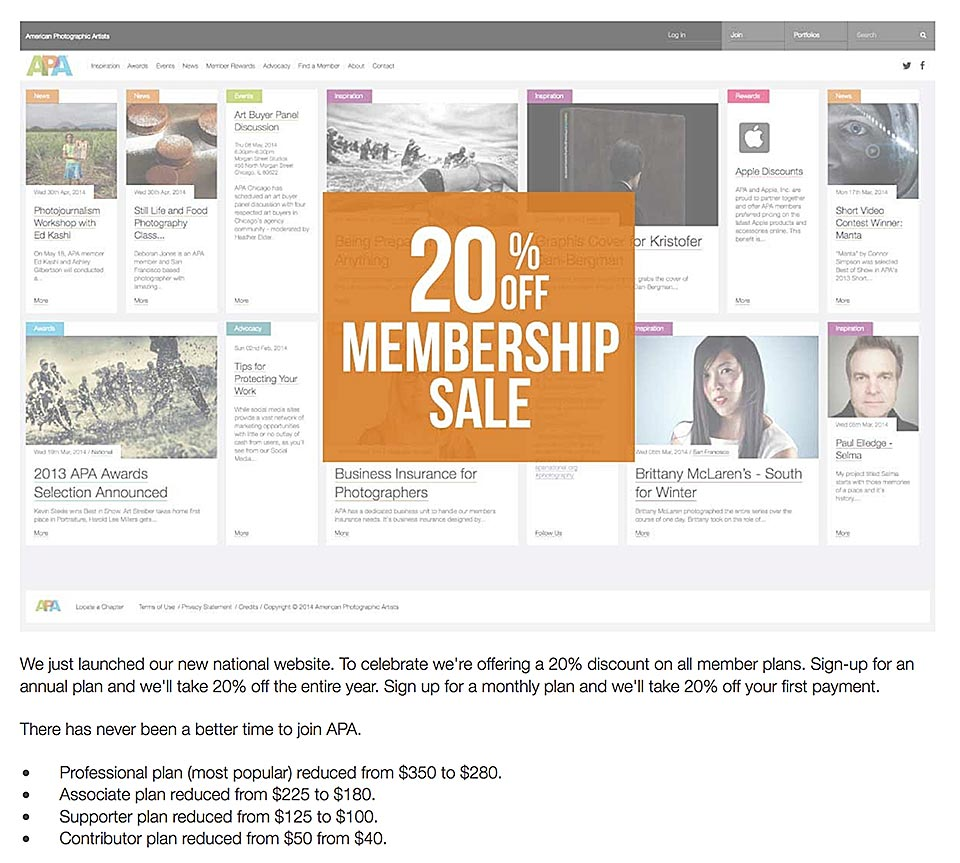 American Photographic Artists membership sale