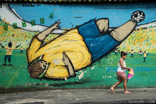 Soccer mural in Rio de Janeiro, Brazil