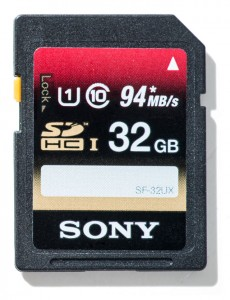 Sony SDHC UHS-1 memory cards