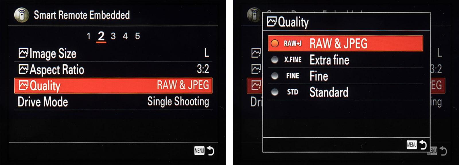 Sony Remote Camera Control menu settings