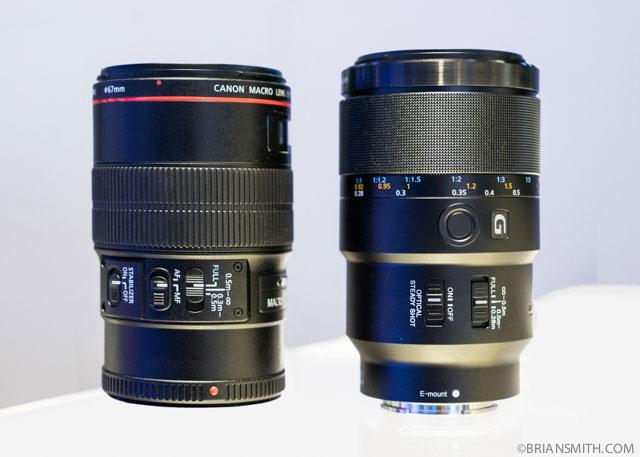 Canon 100 F2.8 Macro and Sony FE 90mm F2.8 macro lenses at CES 2