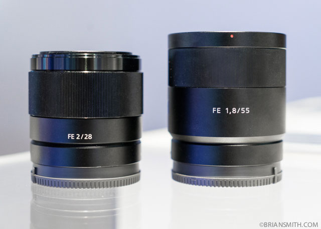 Sony FE 28mm F2 and 55mm F1.8 lenses at CES 2015