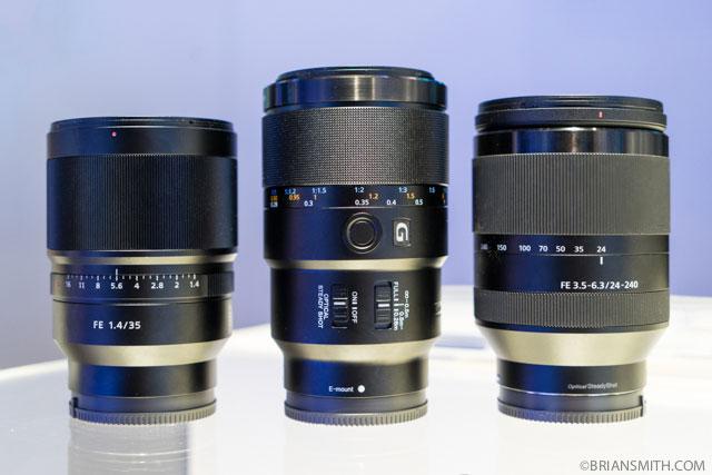 Sony FE 35mm F1.4, FE 90mm F2.8 macro and FE 24-240mm lenses at