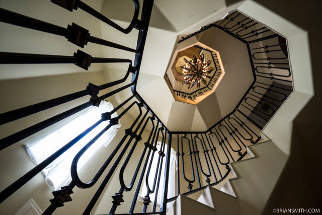 Staircase of DJ Khaled's waterfront Miami mansion Bling photographed for Billboard magazine