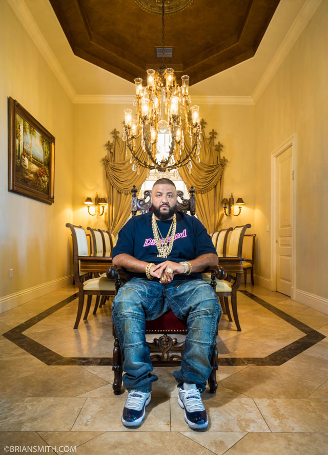 DJ Khaled photographed at his waterfront Miami mansion for Billboard magazine