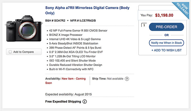 Pre-Order Links for Sony a7RII, RX10 II and RX100 IV
