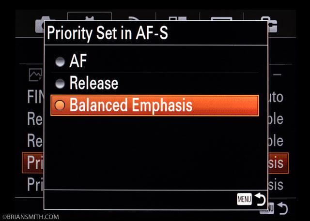 Sony a7RII Menu Settings