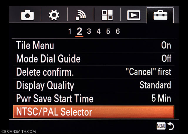 Sony a7RII Menu Settings