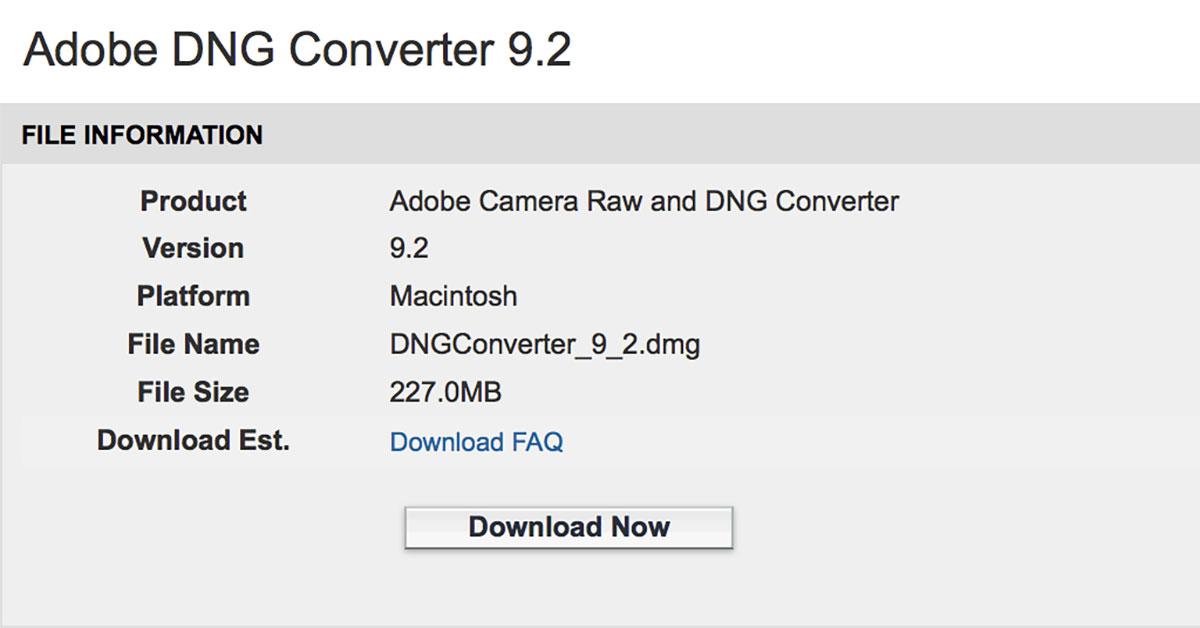 adobe dng converter 9.2