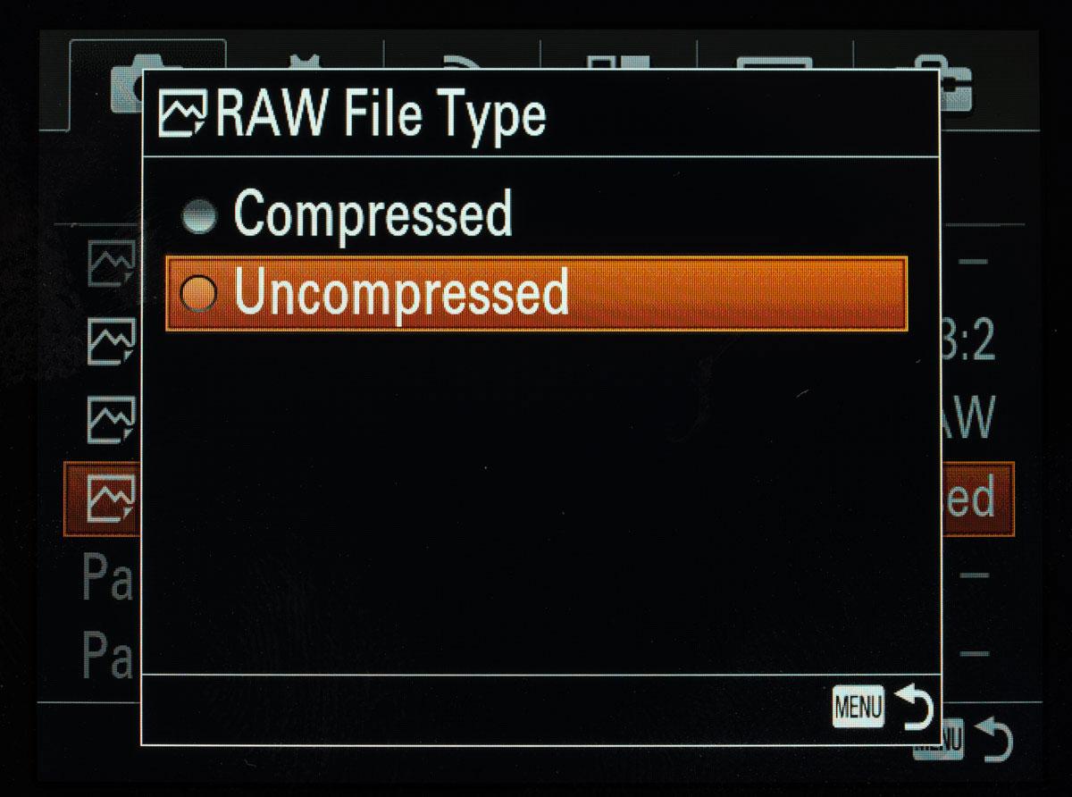 Sony a7SII uncompressed Raw