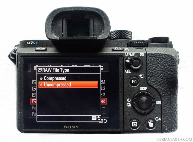 Sony a7SII Uncompressed RAW