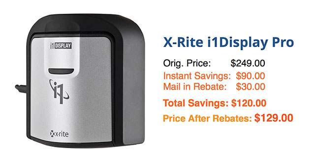 Save $120 on X-Rite i1Display Pro