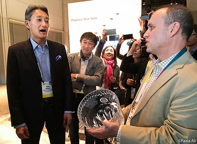 Sony CEO Kaz Hirai and Neal Manowitz at CES 2016
