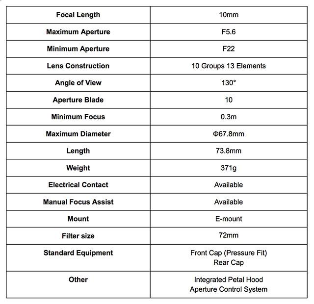 Voigtlander-10mm-Heliar-Sony-E-Mount-Specs