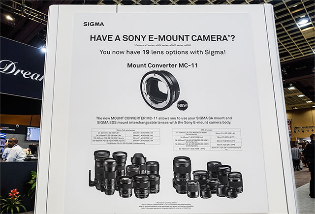 Sigma MC-11 Mount Adapter Display