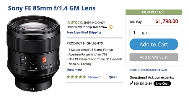 Sony-FE-85mm-F1-4-G-Master-In-Stock