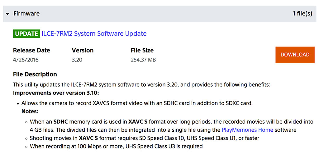 Sony a7RII, a7SII Firmware Updates add XAVC S SDHC Recording