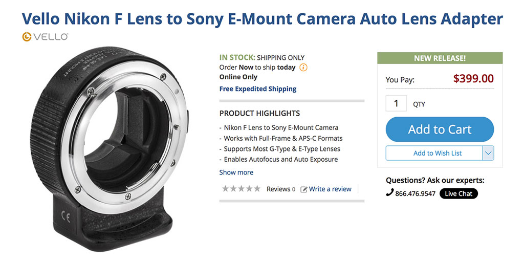 Vello Nikon to Sony E-mount AF Adapter in-stock at B&H Photo