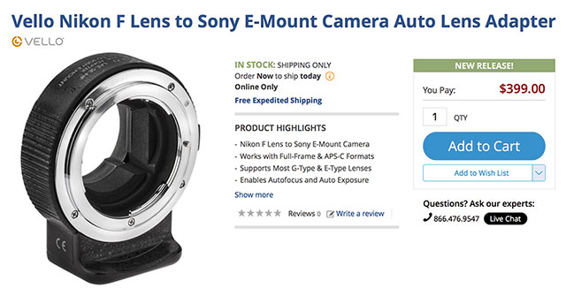 Vello-Nikon-Sony-AF-Adapter-BH-Photo