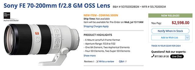 Sony-FE-70-200-F2-8-G-Master-Order