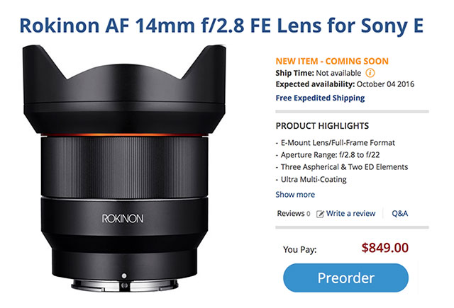Rokinon-AF-14mm-FE-lens-order