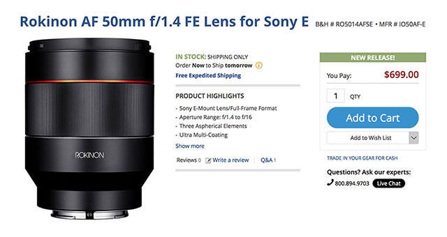 Rokinon-AF-50mm-F1-4-in-stock