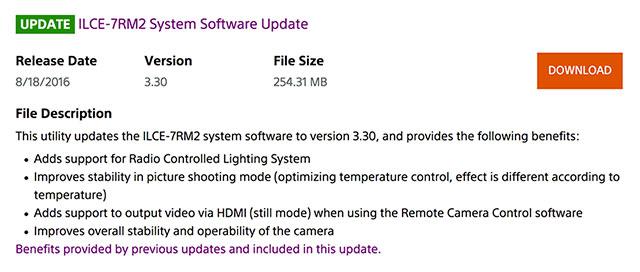 Sony-a7II-FW-3-30-Update