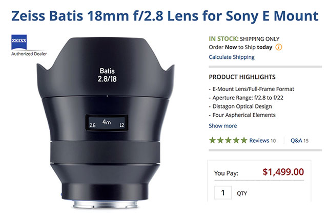 Zeiss Batis 18mm F2 8 E-Mount Lens In-Stock USA