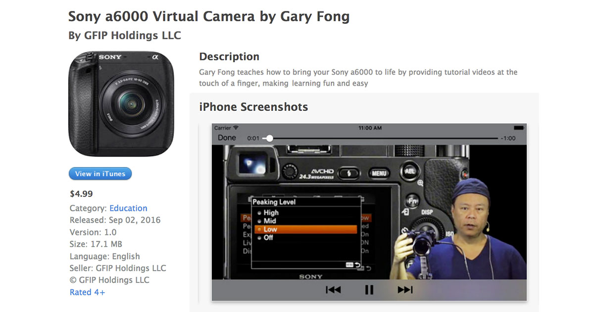 Gary Fong Releases Sony a6000 Virtual Camera App for iPhone