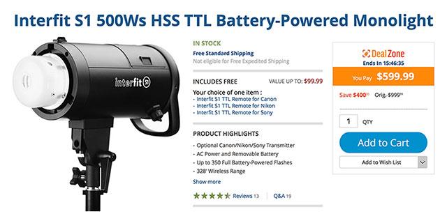 Interfit-S1-500ws-TTL-HSS-Battery-Flash