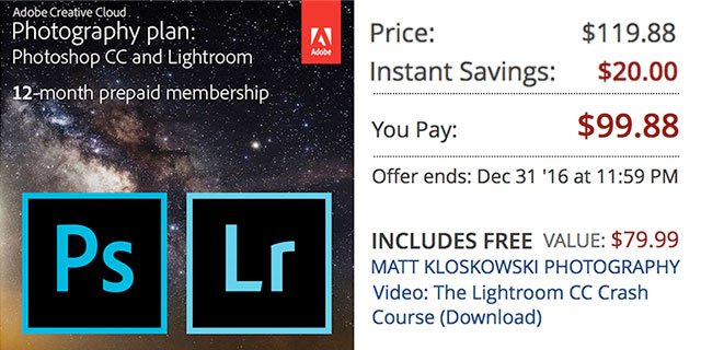Save $20 on Adobe Creative Cloud Photography Plan - 12 Month