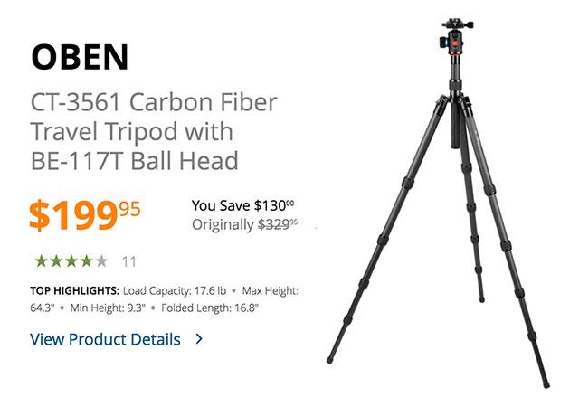 oben-carbon-fiber-travel-tripod-ballhead-deal