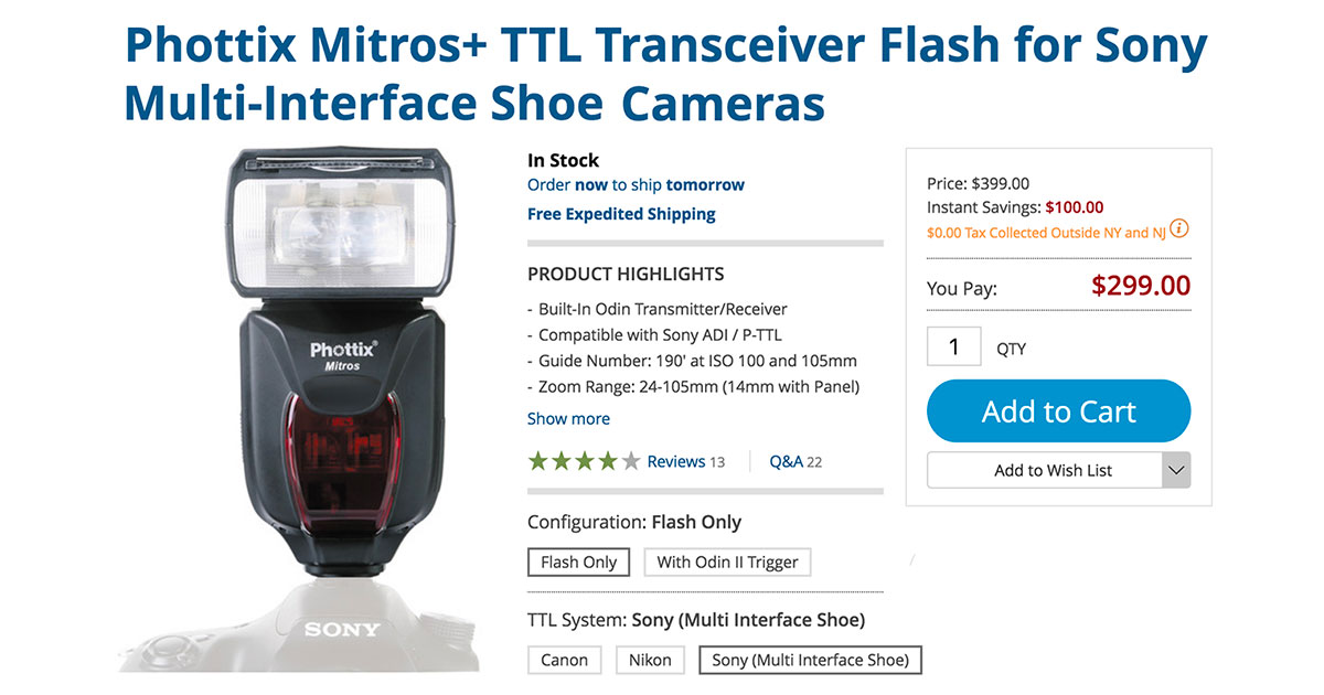 Download Drivers: PHOTTIX Mitros+ TTL Flash for Sony