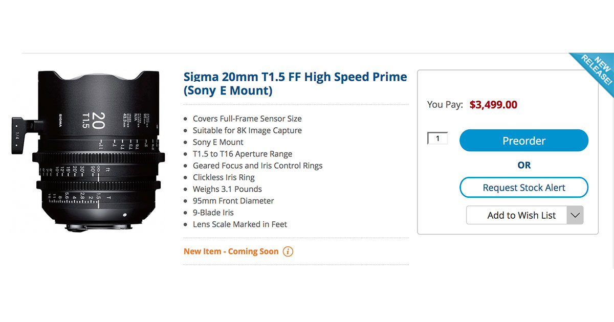 Sigma High-Speed Fullframe E-mount Cine Primes Available for Pre-Order