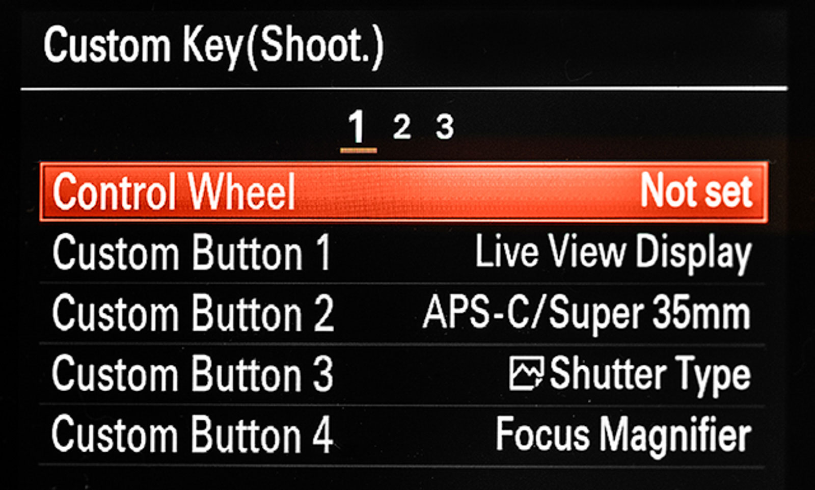 sony a9 custom key settings
