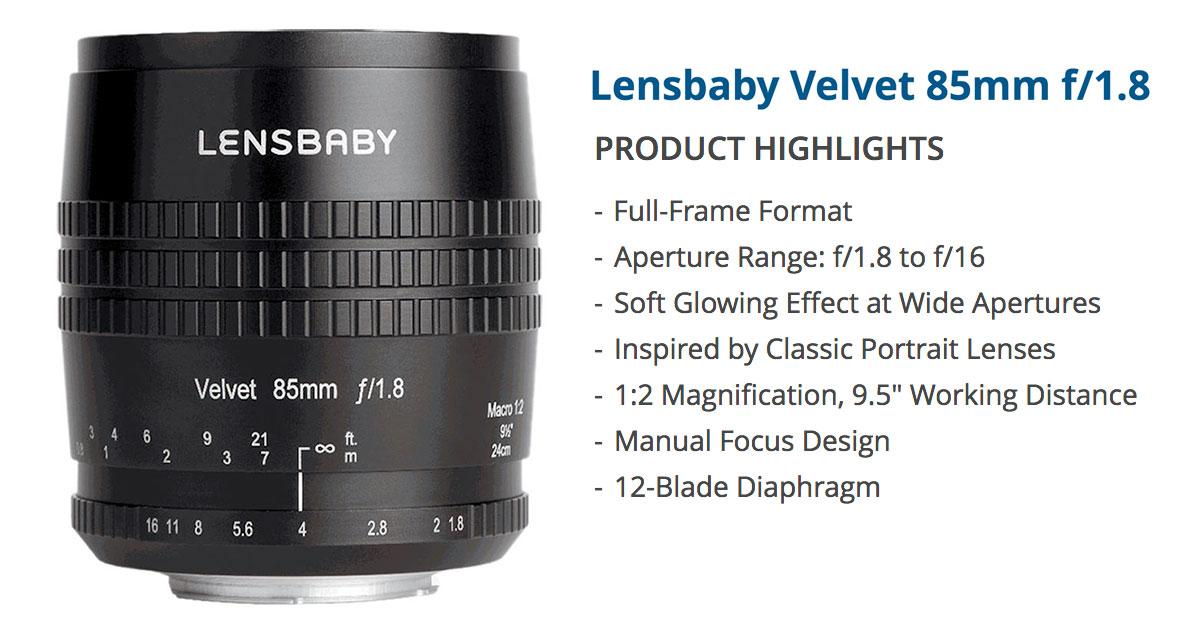 Lensbaby Velvet 85mm f/1.8 lens for Sony E-mount and A-mount