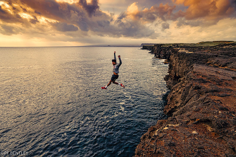 Leap of faith from the cliffs at South Point.