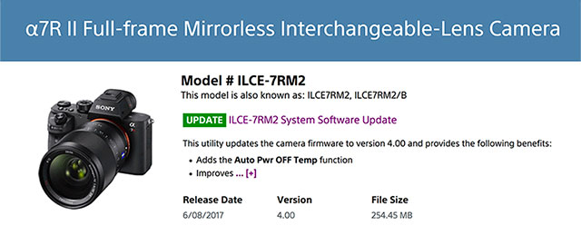 how to update firmware sony a7rii