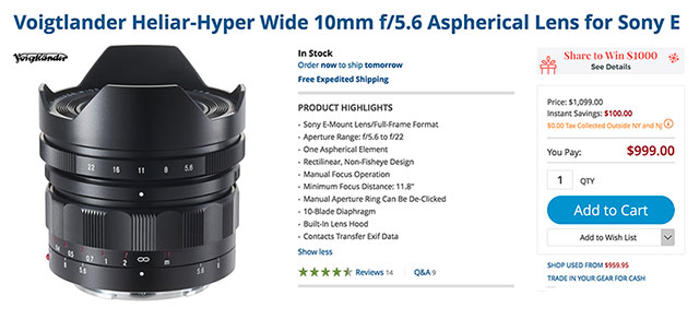 Black Friday Deals: $100 OFF Voigtlander 10mm & 12mm FE Lenses