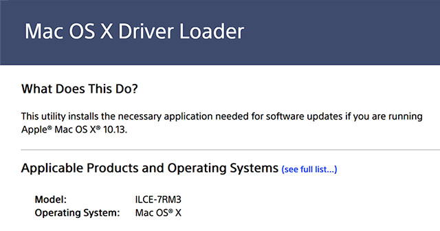 Sony Releases Mac OS X Driver Loader for 10 13 High Sierra