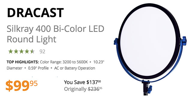 dracast-silkray-400-bi-color-round-light