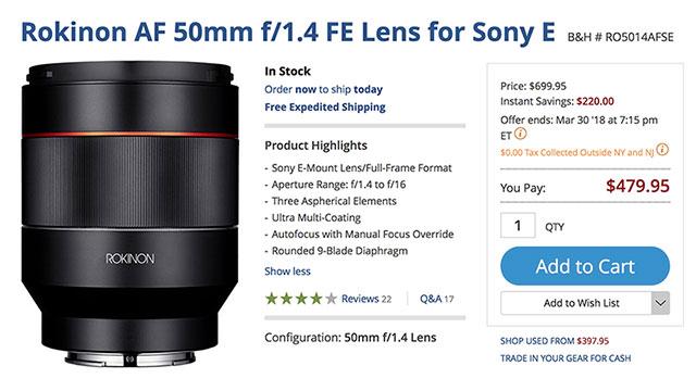 rokinon-af-50mm-f1-4-fe-lens-deal