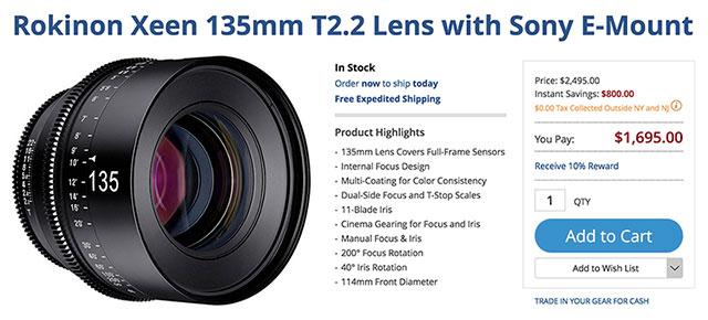 Save $800 on Rokinon XEEN Fullframe E-mount Cine Prime Lenses