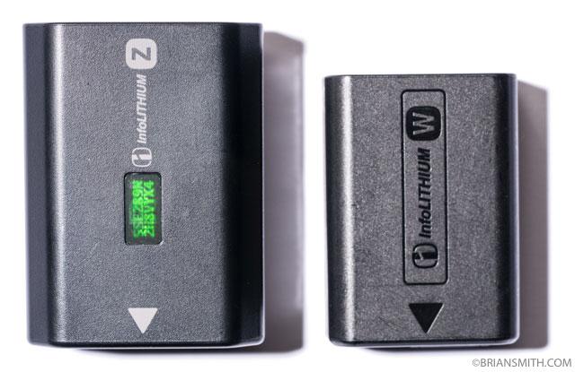 Sony a9 NP-FZ100 Battery Size