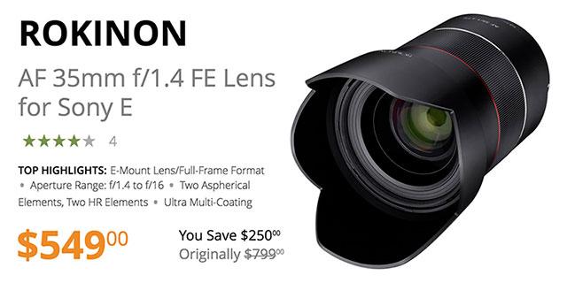 rokinon-af-35mm-f1-4-fe-lens-save-250