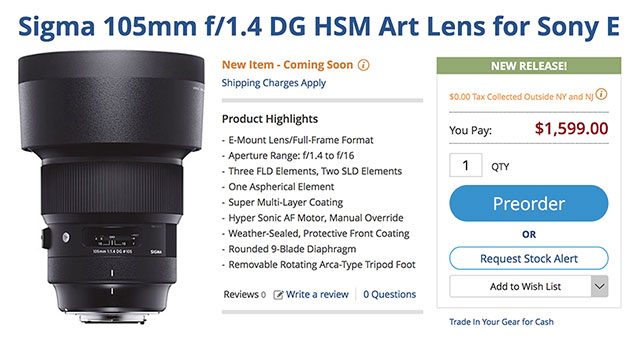 Sigma FE 105mm f/1.4 DG HSM Art Lens Available for Pre-Order $1,599