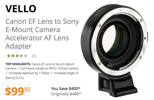 Save $400 Today on Vello Canon EF to Sony E-Mount Accelerator AF Lens Adapters