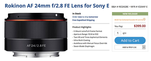 Now In Stock USA: Rokinon AF 24mm f/2.8 FE Lens