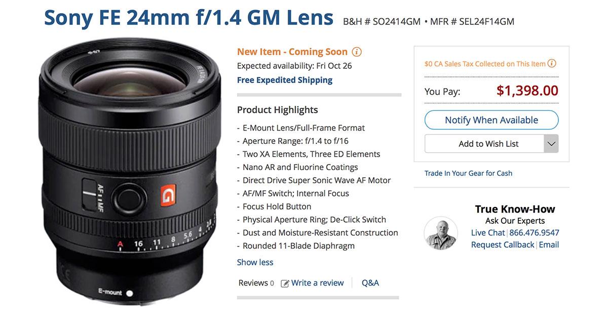 Full Specs on Sony FE 24mm F1.4 G Master Lens